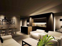 Olohuone / keittiö / ruokailutila, taustalla makuuhuone (havainnekuva)