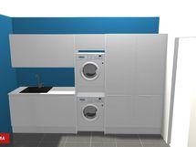 Havainnekuva (pyykinpesukone ja kuivausrumpu eivät sisälly kaupaan).