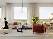 Visualisointikuvassa taiteilijan näkemys 46,5 m2 asunnon olohuoneesta.