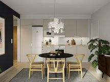 Visualisointikuvassa taiteilijan näkemys 53.5 m2 kolmion keittiöstä.