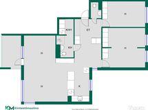 Ylellinen 100,5 m2 kolmio on helposti muutettavissa 3 tai 4 makuuhuoneen asunnoksi.