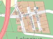 Sannantie 30-Iltatie 9 kartalla, jossa kiinteistöjen rajat ja -tunnukset