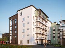 5-kerroksisessa talossa on 1-4 huoneen asuntoja.