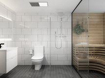 viihtyisä kylpyhuone ja sauna