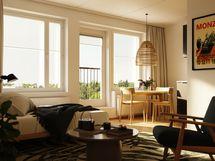 Visualisointikuva 27,5 m2 asunnon olohuoneesta.