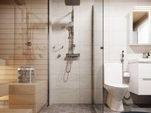 Visualisointikuvassa taiteilijan näkemys asunnon A81 kylpyhuoneesta. Osa saunan tuotteista lisähintaisia muutostöitä osassa yhtiön asuntoja.