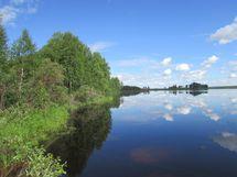 Kuva 2 purettavan mökin rannasta järvelle