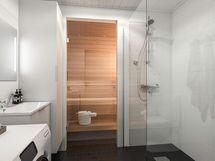 Visualisointi Huvituksen asunnoista. Huomioithan, että pesukone ei kuulu hintaan.