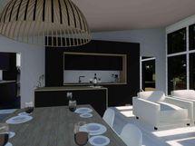 Ruokailutila / keittiö / olohuone (havainnekuva)