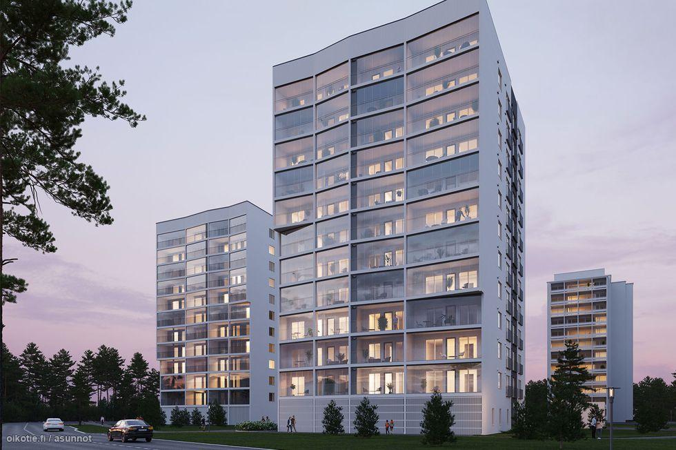 Sairaalanrinteen Tohtorissa on asuntoja kompakteista yksiöistä tilaviin neljän huoneen koteihin. Viittellinen kuva.
