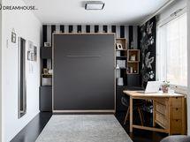 MH1ssä on laadukas seinäsänky, jonka saa kätevästi kiinni tuomaan tilaa huoneeseen