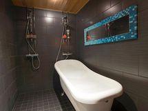 Kylpyhuone; tassuamme ja kaksi suihkua