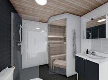 As 11 kylpyhuone ja sauna, musta sisustusmaailma