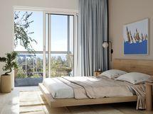 Visualisointikuvassa taiteilijan näkemys 6. kerroksen 91,5 m2 asunnosta B79.