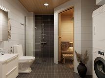 Visualisointikuvassa taiteilijan näkemys 51.5 m2 kodin tilavasta, saunallisesta kylpyhuoneesta.