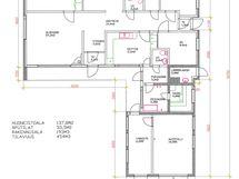 Asunnon pohja on erittäin toimiva ja selkeä. Pitkän sivun kautta kulku mm. 2 kahteen mh.