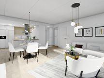 80,5 m² asunnon olohuone, valkoinen sisustusmaailma