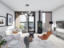 Havainnekuva 105 m² asunnon olohuoneesta