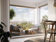 Visualisointikuvassa taiteilijan näkemys ylimmän kerroksen 68 m2 asunnosta.