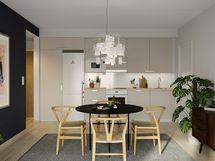 Visualisointikuvassa taiteilijan näkemys 53.5 m2 kodin keittiöstä. Kuvassa näkyvä tehosteseinä on mahdollista toteuttaa lisähintaisena muutostyönä.