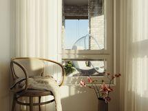Visualisointikuvassa taiteilijan näkemys 40 m2 kodin makuuhuoneesta