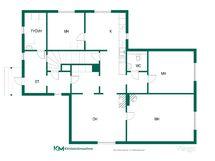 Ensimmäinen asuinkerros ja lisäksi yläkerran- ja kellarin tilat