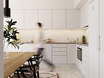 Visualisointikuva 68 m2 asunnon keittiöstä.
