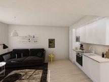 Visualisointi vastaavan asunnon olohuoneesta skandinaavisella keittiötyylillä