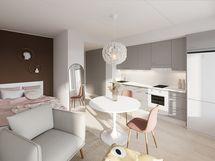 Viitteellinen kuva 26,5 m2 asunnosta.
