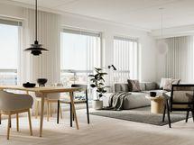 Visualisointikuvassa taiteilijan näkemys 12. kerroksen 81 m2:n kodin olohuoneesta (julkisivusäleikköjen sijainnit vaihtelevat kerroksittain)