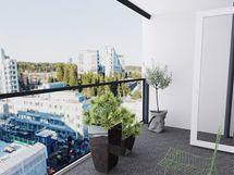 Huom. Ikkunanäkymät ovat n. 8. kerroksen korkeudelta (huoneisto A 61)