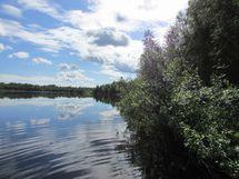 Kuva 3 purettavan mökin rannasta järvelle