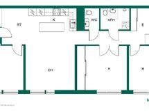 Käytännöllinen pohjaratkaisu! Asunto peruskorjattu täysin asuinkäyttöön 2014.
