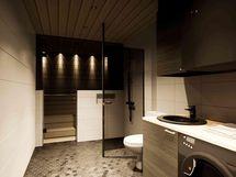 Yleiskatsaus kodinhoitohuoneeseen / kylpyhuoneeseen / saunaan (havainnekuva)