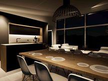 Ruokailutila / keittiö, iltavalaistuksessa (havainnekuva)