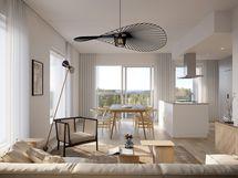 Visualisointikuvassa taiteilijan näkemys 6. kerroksen 98,5 m2 asunnosta A32.