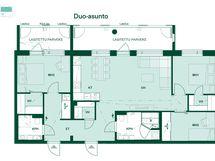 Asunnon vaihtoehtoinen Duo-pohjapiirros