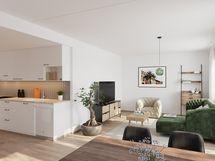 Viitteellinen kuva 74,0 m2 asunnosta.