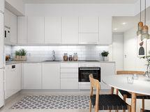 Visualisointikuvassa taiteilijan näkemys 48 m2 keittiöstä.
