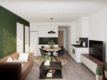 Viitteellinen kuva 34,0 m2 asunnosta.