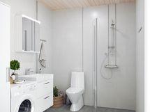 Havainnekuva yksiön kylpyhuoneesta.