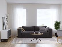 Havainnekuva 79,5 m² asunnon olohuoneesta