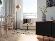 Visualisointikuvassa taiteilijan näkemys Wiljan 39 m2 kulmakodista 8. kerroksessa