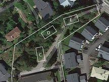 talojen suuntaa antava sijoittelu tontille ilmakuvassa