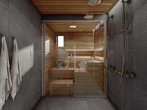 Havainnekuva 81,5 m² asunnon kylpyhuoneesta, lasisella väliseinällä