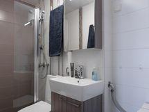 Kompakti kylpyhuone on uusittu 2013 linjasaneerauksen yhteydessä.