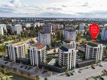 Viimeinen rakennus Asunto Oy Tuiran Uurre täydentää korttelin modernin viisikon täydelliseksi.