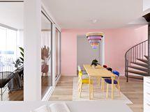 Viitteellinen kuva kaksikerroksisesta asunnosta.