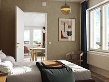 Visualisointikuvassa taiteilijan näkemys 65m2 makuuhuoneesta. Visualisointikuva A70 kodin näkymistä.
