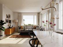 Visualisointikuvassa taiteilijan näkemys 48,5 m2 asunnosta.